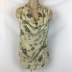 BKE Tan & Black Floral Sleeveless Drape Neck Top